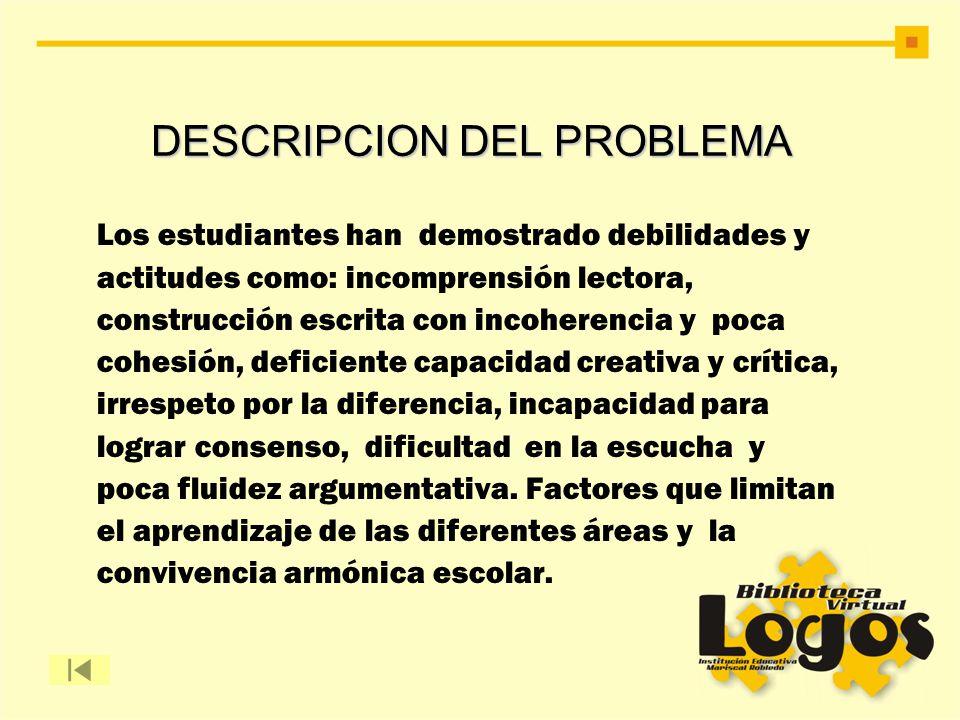 DESCRIPCION DEL PROBLEMA DESCRIPCION DEL PROBLEMA Los estudiantes han demostrado debilidades y actitudes como: incomprensión lectora, construcción esc
