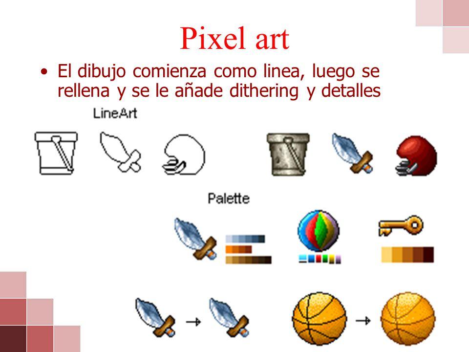 Pixel art El dibujo comienza como linea, luego se rellena y se le añade dithering y detalles