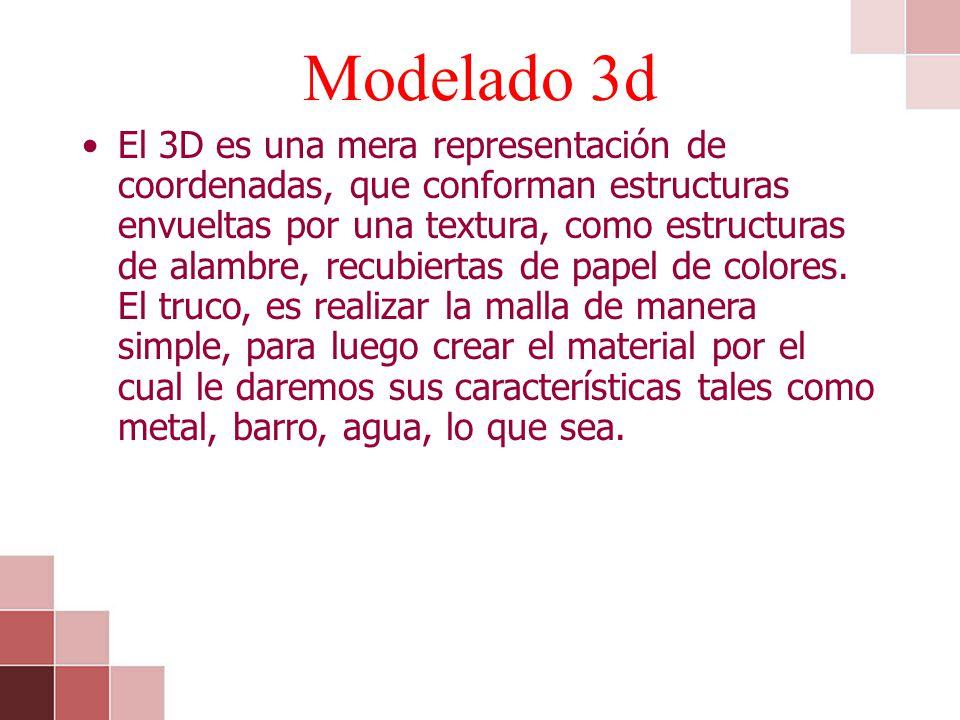 Modelado 3d El 3D es una mera representación de coordenadas, que conforman estructuras envueltas por una textura, como estructuras de alambre, recubie