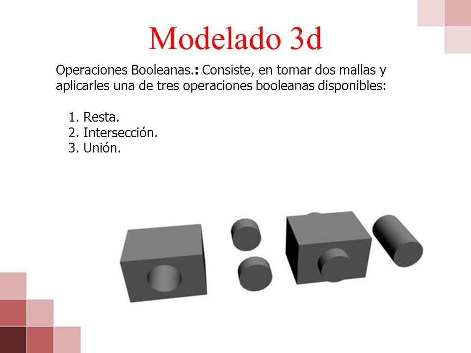 Modelado 3d Operaciones Booleanas.: Consiste, en tomar dos mallas y aplicarles una de tres operaciones booleanas disponibles: 1. Resta. 2. Intersecció