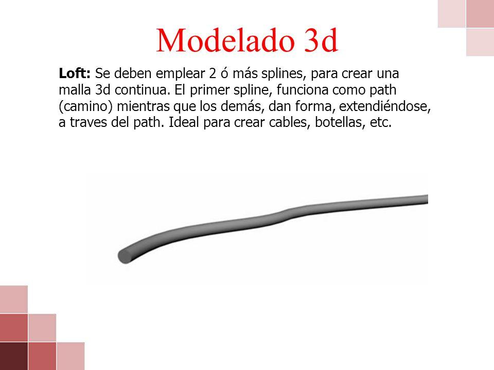 Modelado 3d Loft: Se deben emplear 2 ó más splines, para crear una malla 3d continua. El primer spline, funciona como path (camino) mientras que los d