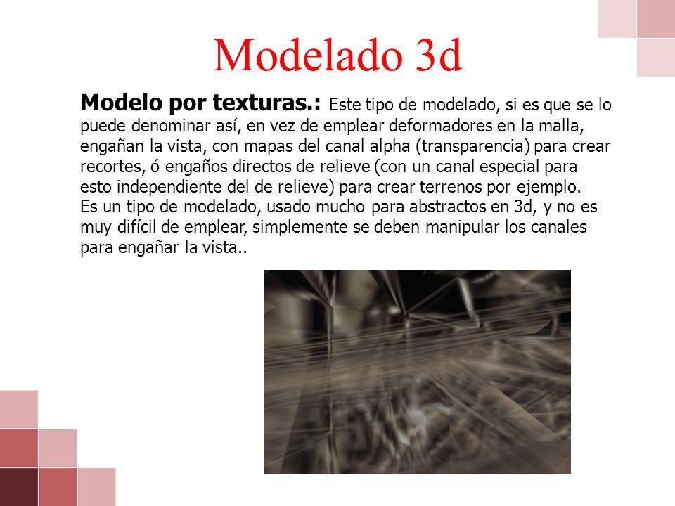 Modelado 3d Modelo por texturas.: Este tipo de modelado, si es que se lo puede denominar así, en vez de emplear deformadores en la malla, engañan la v