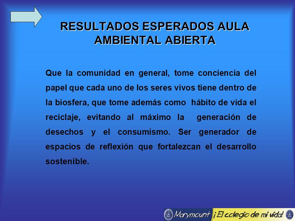 RESULTADOS ESPERADOS AULA AMBIENTAL ABIERTA Que la comunidad en general, tome conciencia del papel que cada uno de los seres vivos tiene dentro de la biosfera, que tome además como hábito de vida el reciclaje, evitando al máximo la generación de desechos y el consumismo.