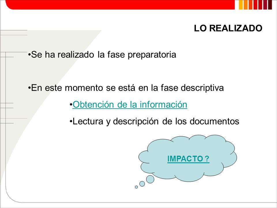 LO REALIZADO Se ha realizado la fase preparatoria En este momento se está en la fase descriptiva Obtención de la información Lectura y descripción de los documentos IMPACTO ?