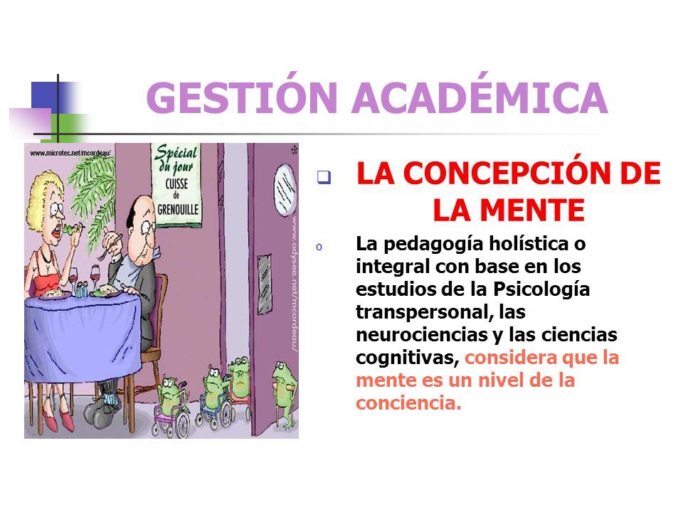 GESTIÓN ACADÉMICA CONCEPCION DE INSTRUCCIÓN o Desde la Pedagogía Holística o Integral la instrucción es el proceso a través del cual se realiza la int