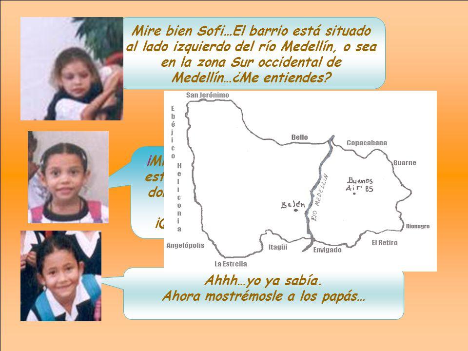Mire bien Sofi…El barrio está situado al lado izquierdo del río Medellín, o sea en la zona Sur occidental de Medellín…¿Me entiendes.