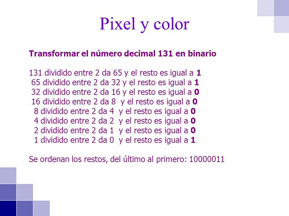 Transformar el número decimal 131 en binario 131 dividido entre 2 da 65 y el resto es igual a 1 65 dividido entre 2 da 32 y el resto es igual a 1 32 d