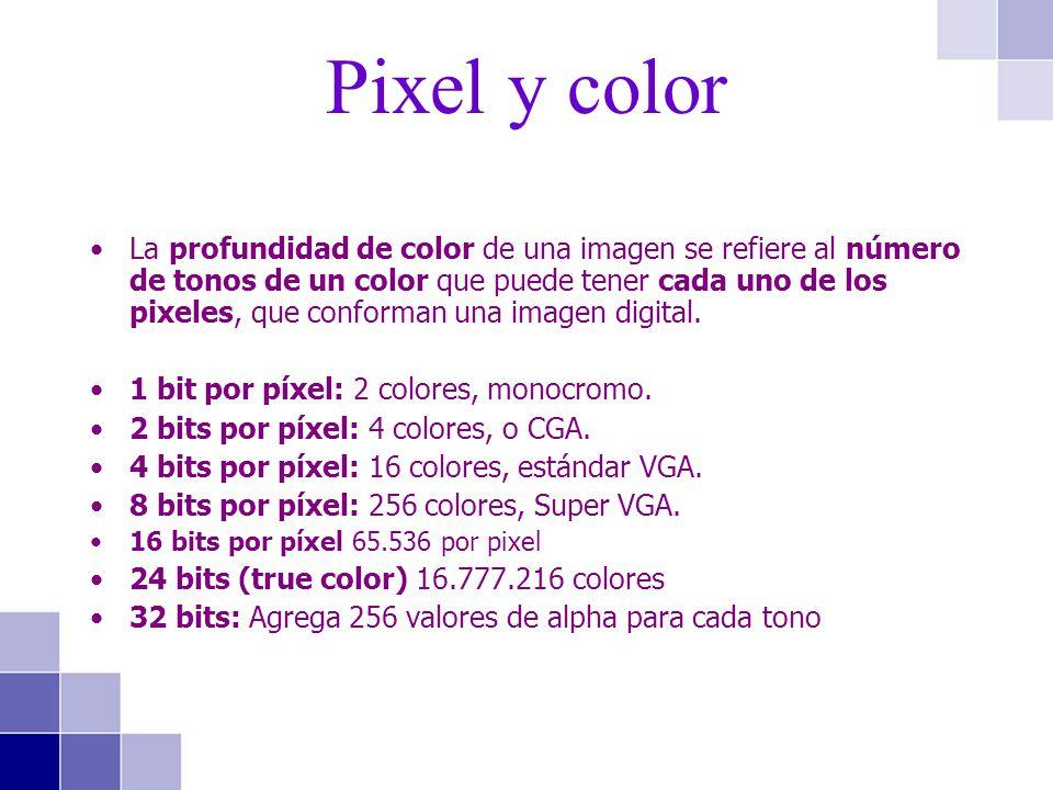 La profundidad de color de una imagen se refiere al número de tonos de un color que puede tener cada uno de los pixeles, que conforman una imagen digi