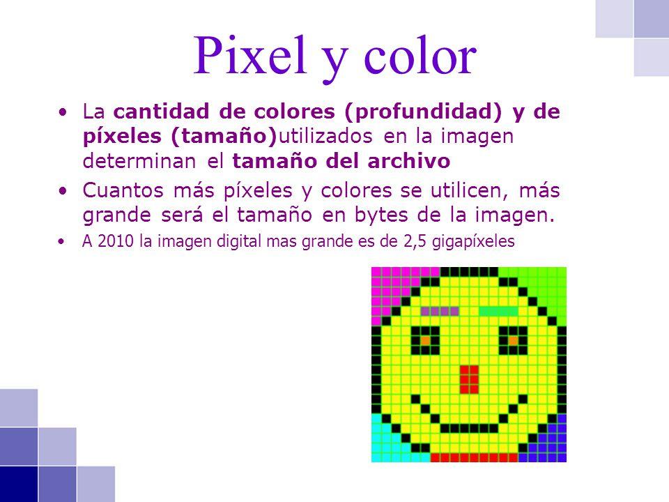 La cantidad de colores (profundidad) y de píxeles (tamaño)utilizados en la imagen determinan el tamaño del archivo Cuantos más píxeles y colores se ut