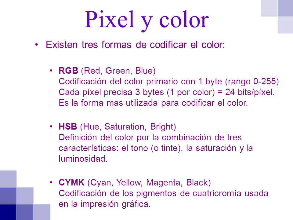 Existen tres formas de codificar el color: RGB (Red, Green, Blue) Codificación del color primario con 1 byte (rango 0-255) Cada píxel precisa 3 bytes