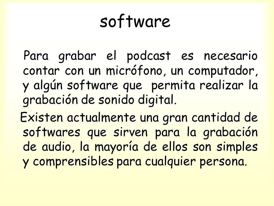 software Para grabar el podcast es necesario contar con un micrófono, un computador, y algún software que permita realizar la grabación de sonido digital.