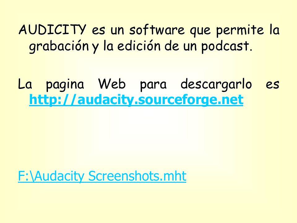 AUDICITY es un software que permite la grabación y la edición de un podcast.