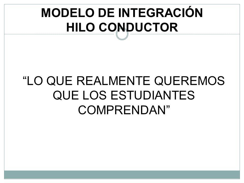 MODELO DE INTEGRACIÓN HILO CONDUCTOR LO QUE REALMENTE QUEREMOS QUE LOS ESTUDIANTES COMPRENDAN