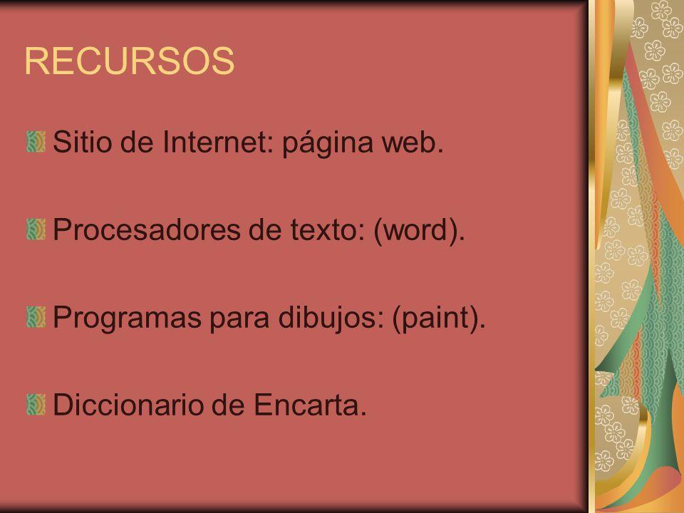 RECURSOS Sitio de Internet: página web. Procesadores de texto: (word). Programas para dibujos: (paint). Diccionario de Encarta.