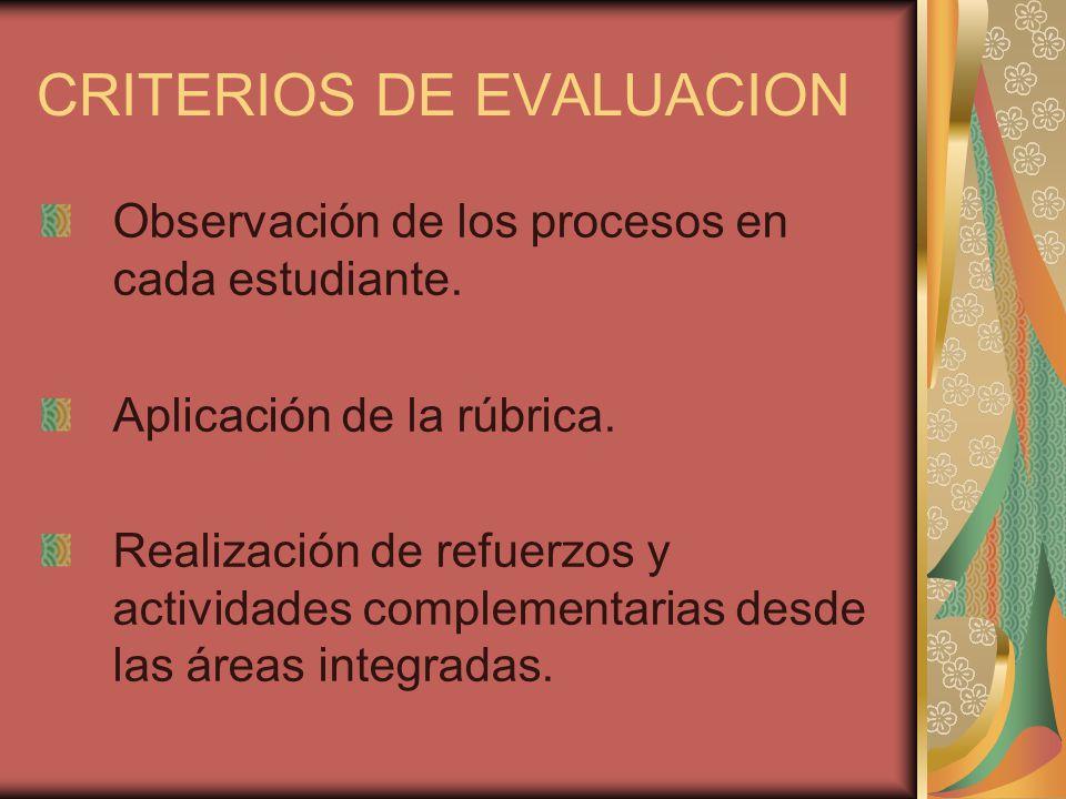 CRITERIOS DE EVALUACION Observación de los procesos en cada estudiante. Aplicación de la rúbrica. Realización de refuerzos y actividades complementari