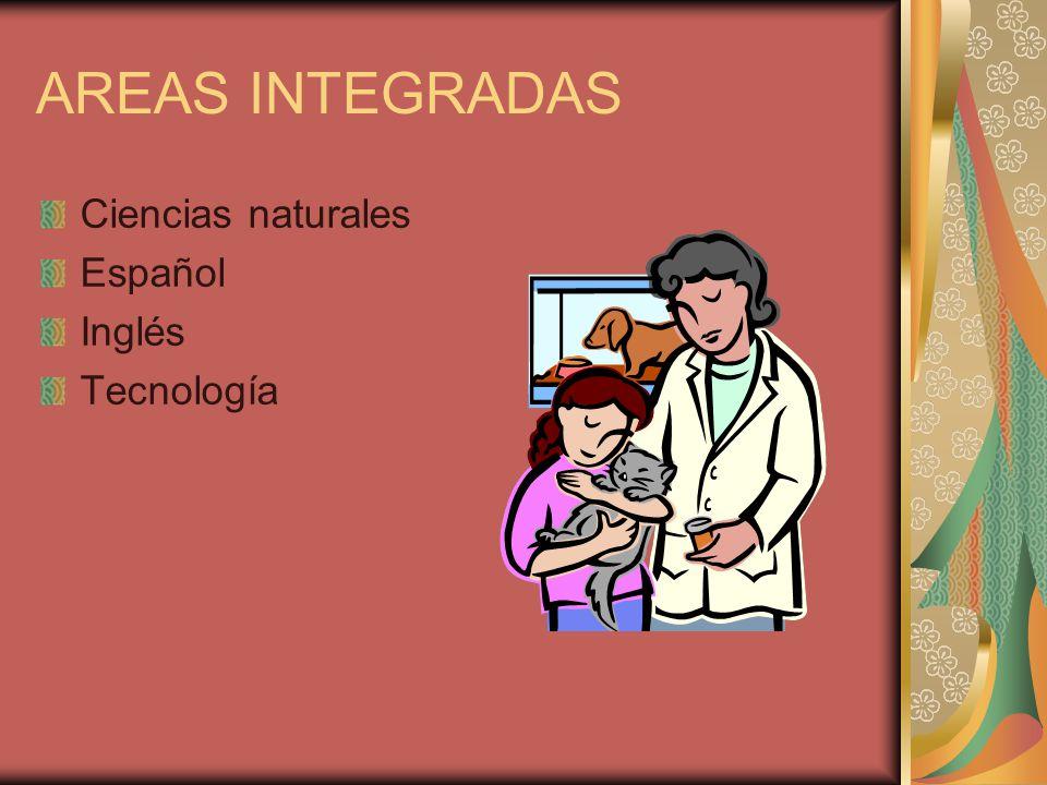 AREAS INTEGRADAS Ciencias naturales Español Inglés Tecnología
