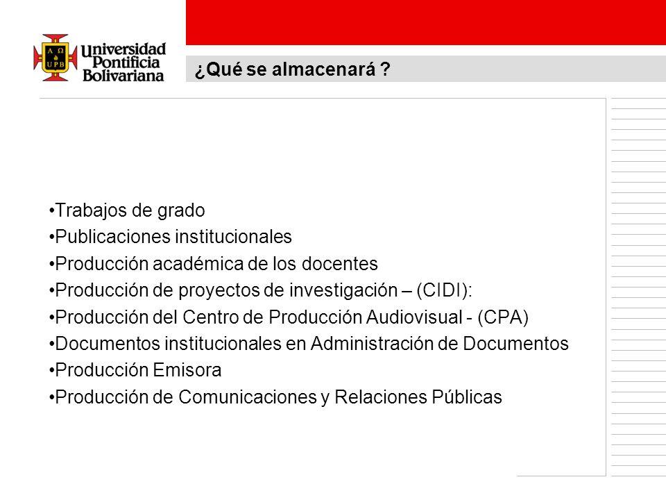 Trabajos de grado Publicaciones institucionales Producción académica de los docentes Producción de proyectos de investigación – (CIDI): Producción del