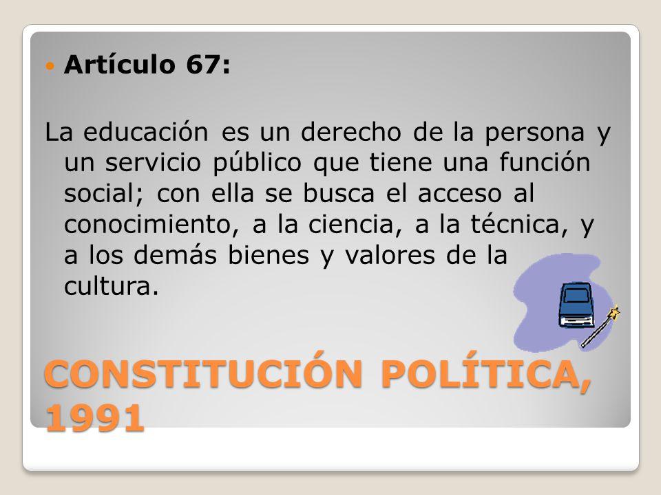 CONSTITUCIÓN POLÍTICA, 1991 Artículo 67: La educación es un derecho de la persona y un servicio público que tiene una función social; con ella se busc