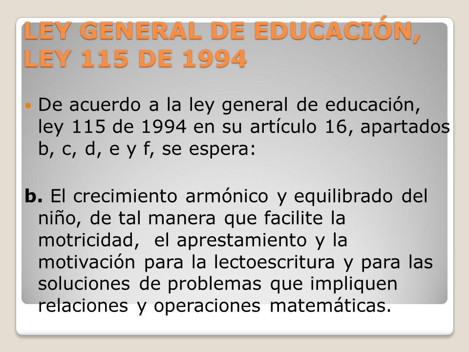 LEY GENERAL DE EDUCACIÓN, LEY 115 DE 1994 De acuerdo a la ley general de educación, ley 115 de 1994 en su artículo 16, apartados b, c, d, e y f, se es