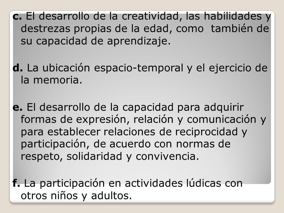 c. El desarrollo de la creatividad, las habilidades y destrezas propias de la edad, como también de su capacidad de aprendizaje. d. La ubicación espac