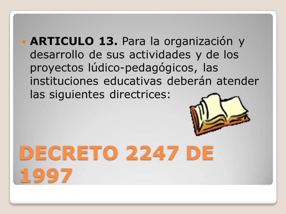DECRETO 2247 DE 1997 ARTICULO 13. Para la organización y desarrollo de sus actividades y de los proyectos lúdico-pedagógicos, las instituciones educat
