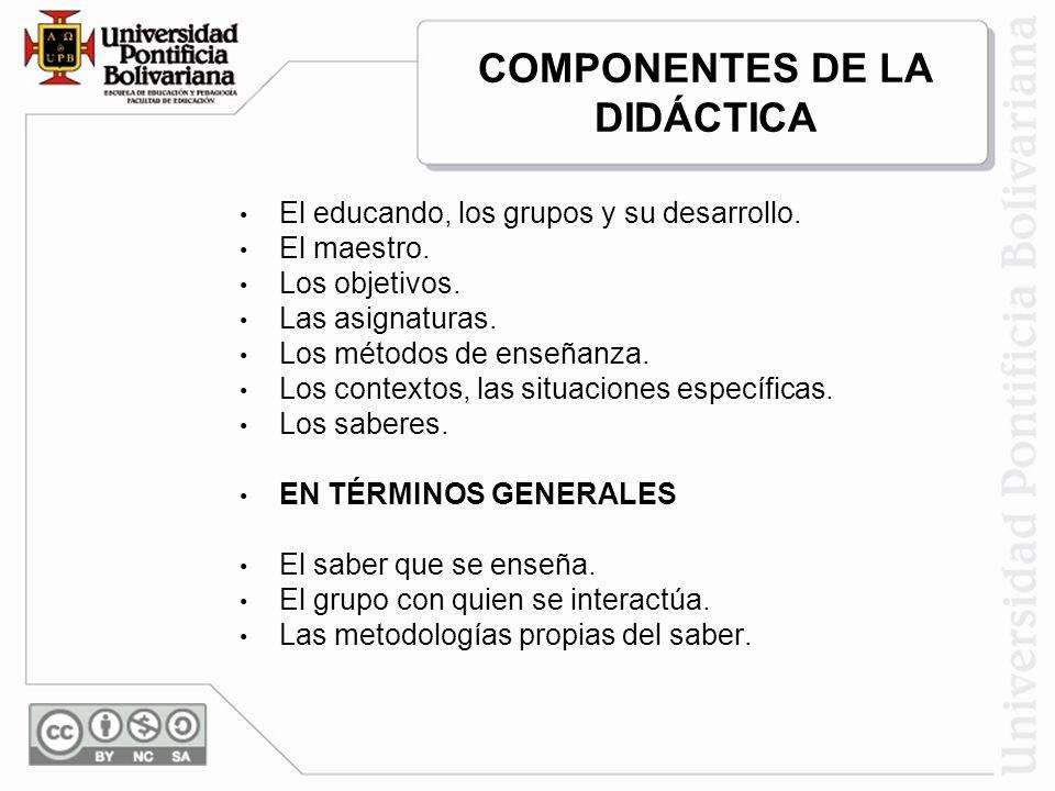 COMPONENTES DE LA DIDÁCTICA El educando, los grupos y su desarrollo. El maestro. Los objetivos. Las asignaturas. Los métodos de enseñanza. Los context