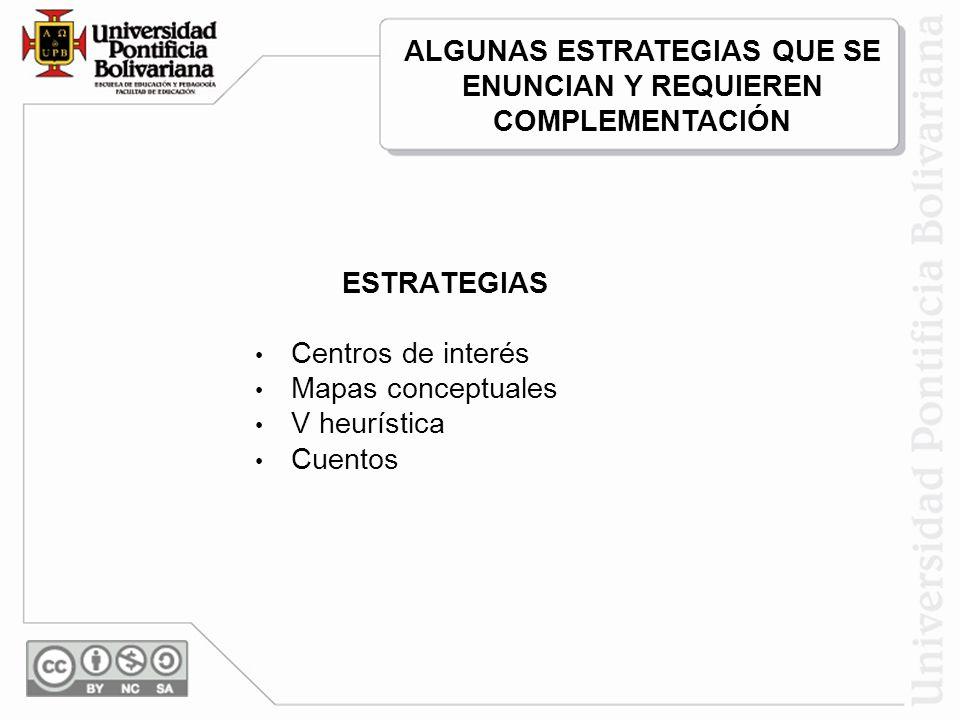 ESTRATEGIAS Centros de interés Mapas conceptuales V heurística Cuentos ALGUNAS ESTRATEGIAS QUE SE ENUNCIAN Y REQUIEREN COMPLEMENTACIÓN