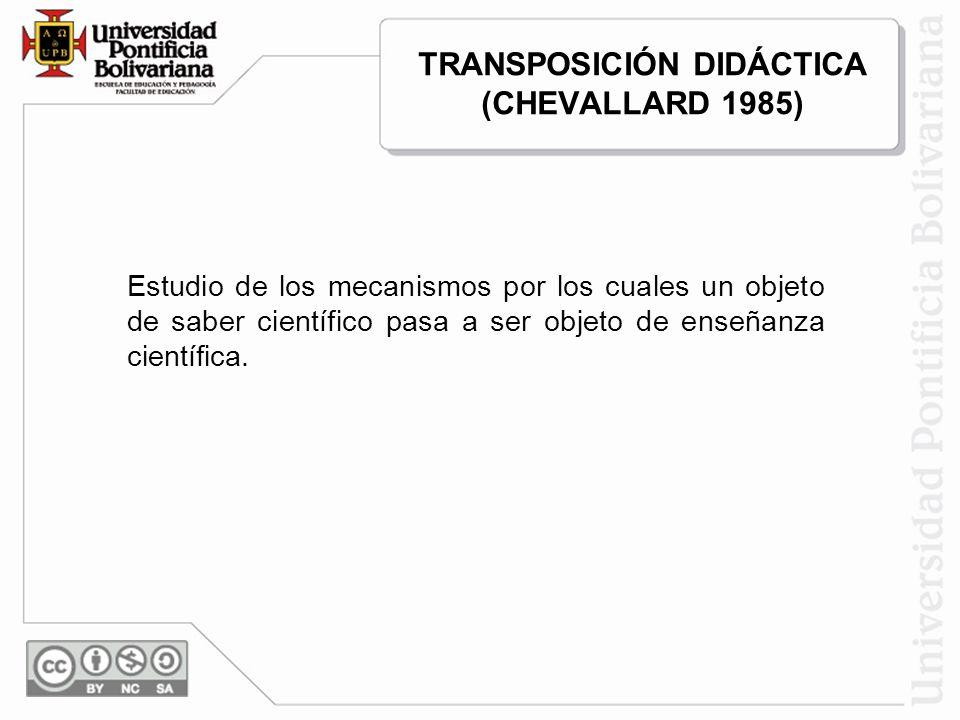 TRANSPOSICIÓN DIDÁCTICA (CHEVALLARD 1985) Estudio de los mecanismos por los cuales un objeto de saber científico pasa a ser objeto de enseñanza cientí