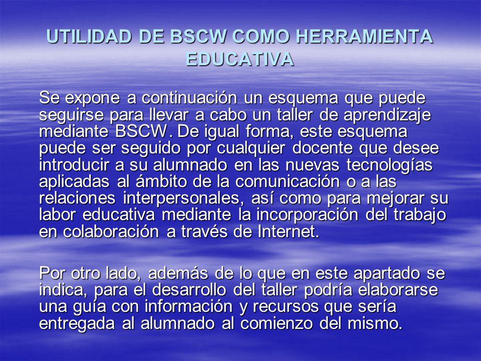 UTILIDAD DE BSCW COMO HERRAMIENTA EDUCATIVA Se expone a continuación un esquema que puede seguirse para llevar a cabo un taller de aprendizaje mediant