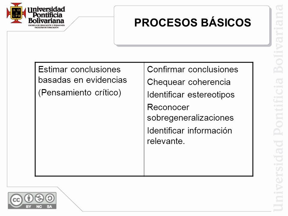 Estimar conclusiones basadas en evidencias (Pensamiento crítico) Confirmar conclusiones Chequear coherencia Identificar estereotipos Reconocer sobrege