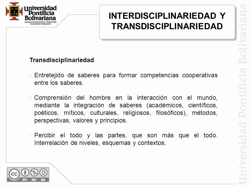 Transdisciplinariedad Entretejido de saberes para formar competencias cooperativas entre los saberes. Comprensión del hombre en la interacción con el