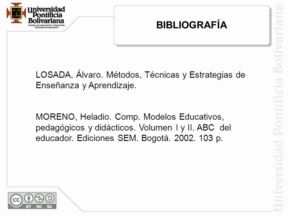 LOSADA, Álvaro. Métodos, Técnicas y Estrategias de Enseñanza y Aprendizaje. MORENO, Heladio. Comp. Modelos Educativos, pedagógicos y didácticos. Volum