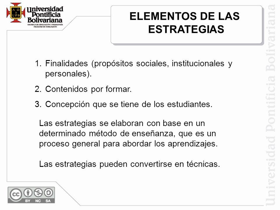 1.Finalidades (propósitos sociales, institucionales y personales). 2.Contenidos por formar. 3.Concepción que se tiene de los estudiantes. Las estrateg