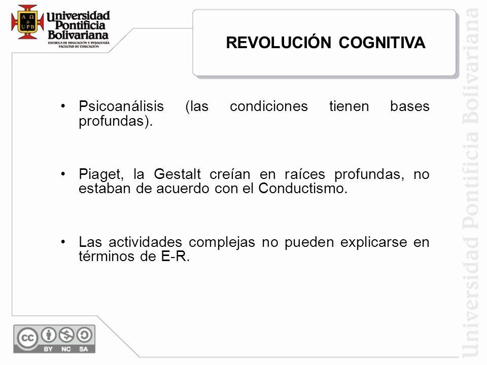 Psicoanálisis (las condiciones tienen bases profundas). Piaget, la Gestalt creían en raíces profundas, no estaban de acuerdo con el Conductismo. Las a