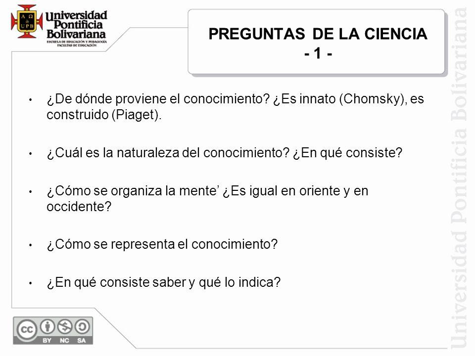PREGUNTAS DE LA CIENCIA - 1 - ¿De dónde proviene el conocimiento? ¿Es innato (Chomsky), es construido (Piaget). ¿Cuál es la naturaleza del conocimient