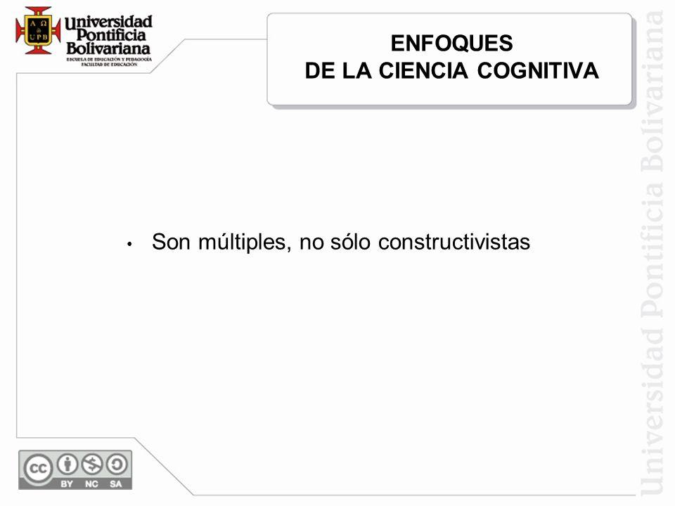 ENFOQUES DE LA CIENCIA COGNITIVA Son múltiples, no sólo constructivistas