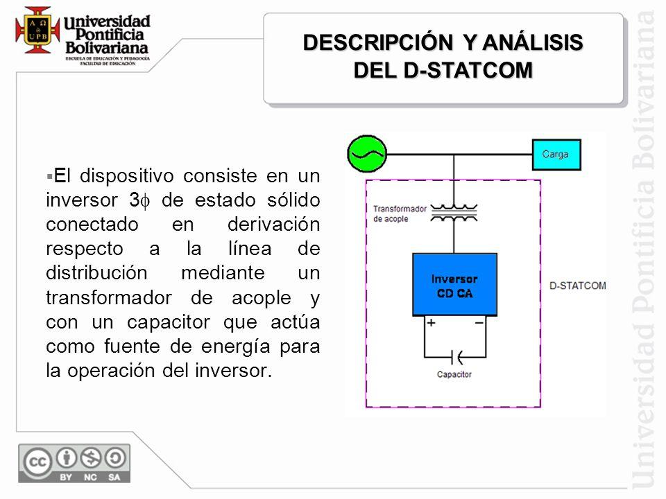 Las principales funciones del D-STATCOM son: Mitigar el efecto de los Sags y Swells de voltaje sobre cargas sensibles. Regulación de voltaje. Compensa