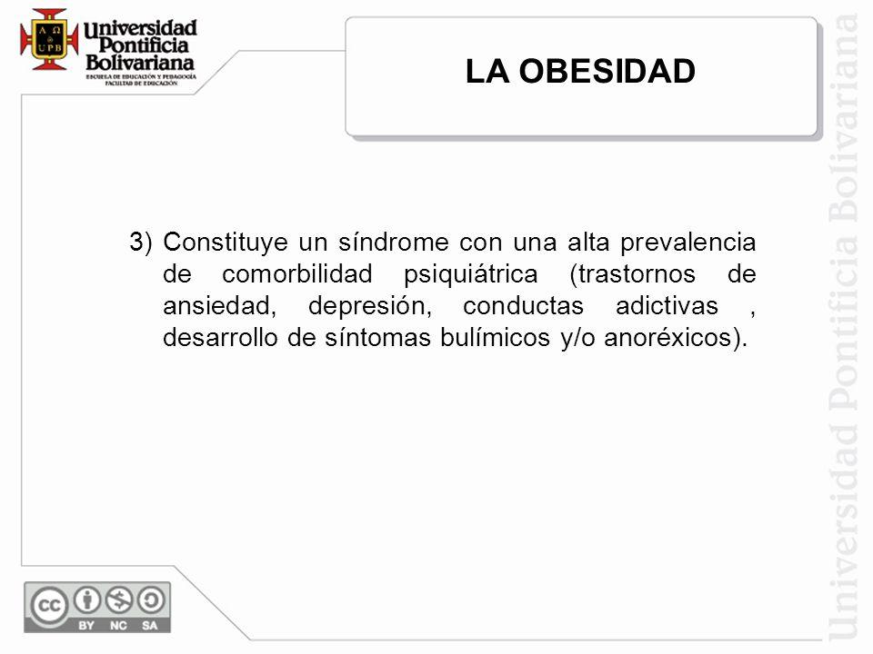 3) Constituye un síndrome con una alta prevalencia de comorbilidad psiquiátrica (trastornos de ansiedad, depresión, conductas adictivas, desarrollo de síntomas bulímicos y/o anoréxicos).