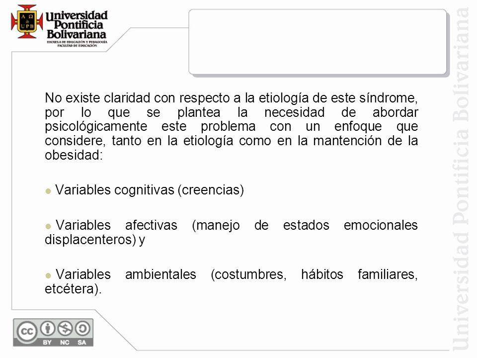 No existe claridad con respecto a la etiología de este síndrome, por lo que se plantea la necesidad de abordar psicológicamente este problema con un enfoque que considere, tanto en la etiología como en la mantención de la obesidad: Variables cognitivas (creencias) Variables afectivas (manejo de estados emocionales displacenteros) y Variables ambientales (costumbres, hábitos familiares, etcétera).