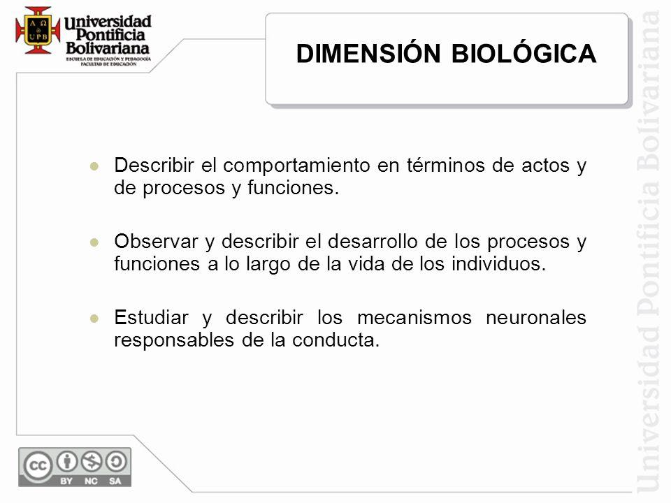 DIMENSIÓN BIOLÓGICA Describir el comportamiento en términos de actos y de procesos y funciones.