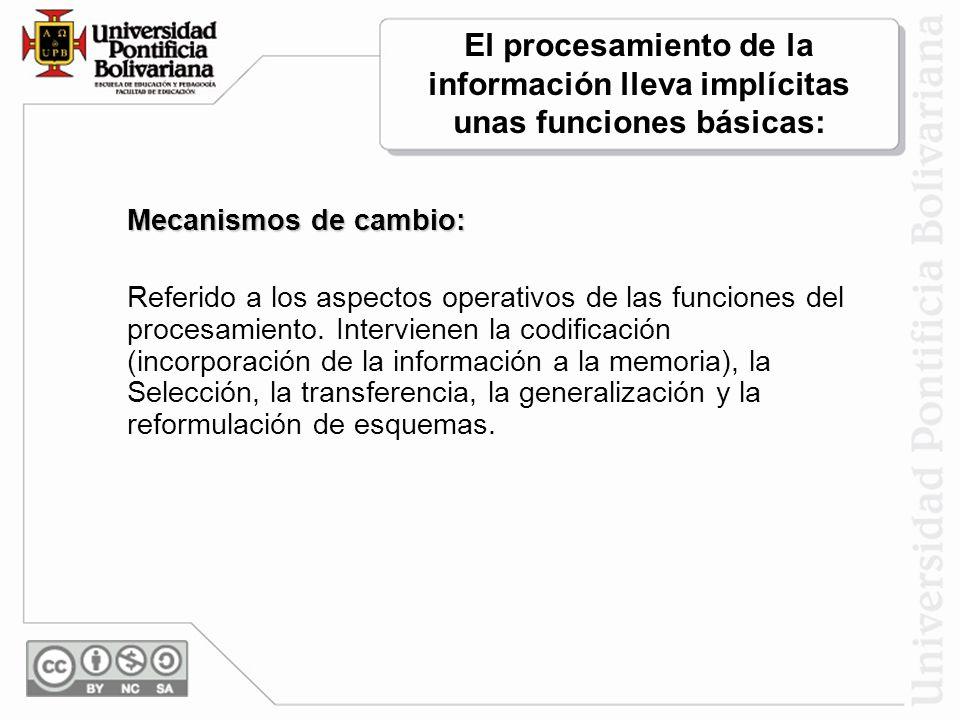 Mecanismos de cambio: Referido a los aspectos operativos de las funciones del procesamiento.
