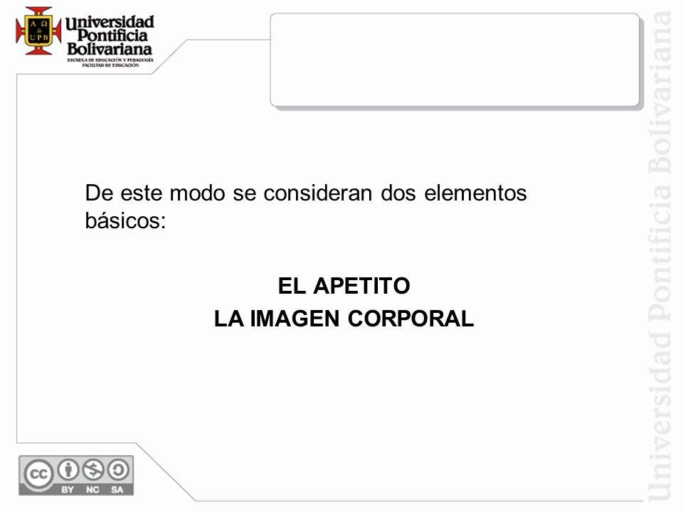 De este modo se consideran dos elementos básicos: EL APETITO LA IMAGEN CORPORAL