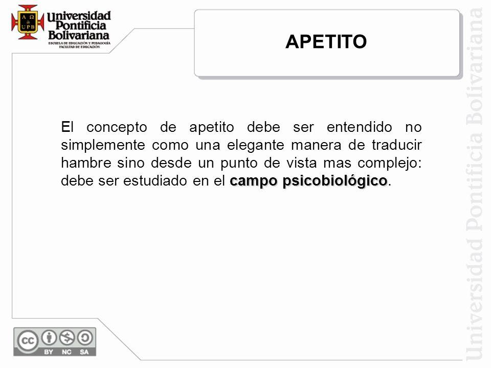 campo psicobiológico El concepto de apetito debe ser entendido no simplemente como una elegante manera de traducir hambre sino desde un punto de vista mas complejo: debe ser estudiado en el campo psicobiológico.