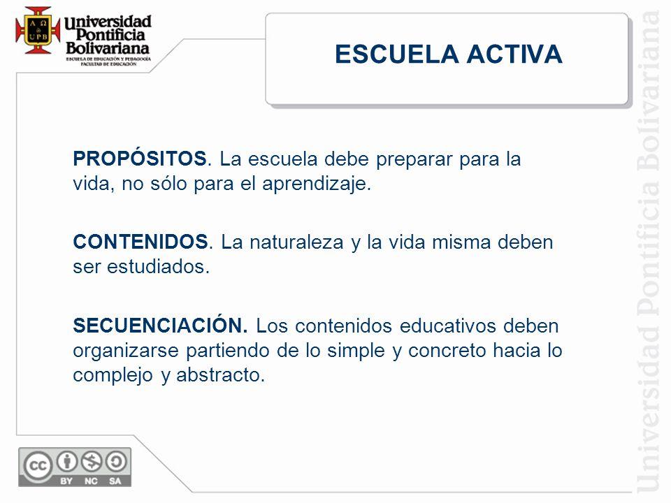 ESCUELA ACTIVA PROPÓSITOS.La escuela debe preparar para la vida, no sólo para el aprendizaje.