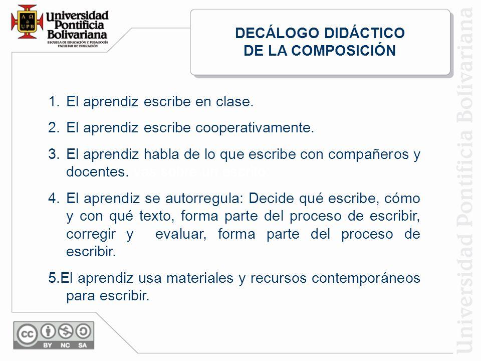1.El aprendiz escribe en clase.2.El aprendiz escribe cooperativamente.