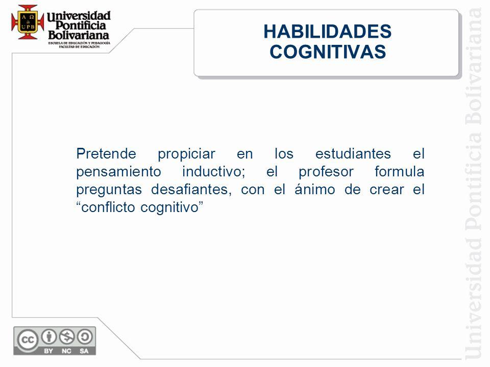 HABILIDADES COGNITIVAS Pretende propiciar en los estudiantes el pensamiento inductivo; el profesor formula preguntas desafiantes, con el ánimo de crear el conflicto cognitivo