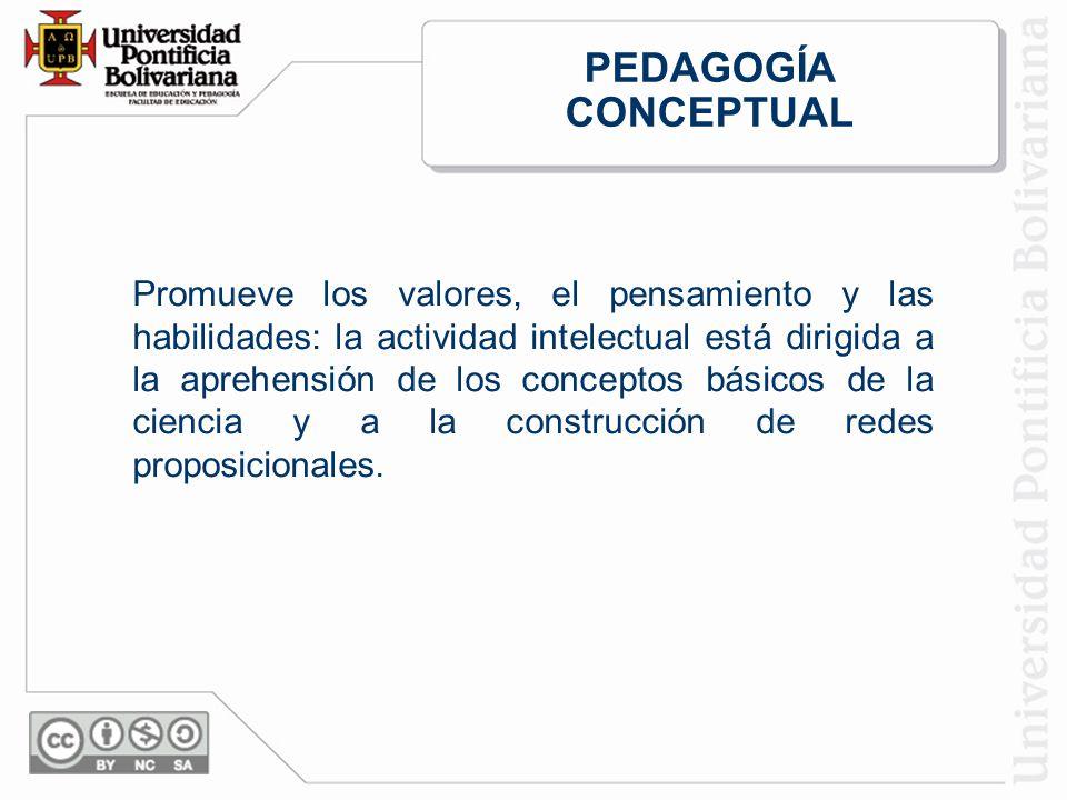 Promueve los valores, el pensamiento y las habilidades: la actividad intelectual está dirigida a la aprehensión de los conceptos básicos de la ciencia y a la construcción de redes proposicionales.