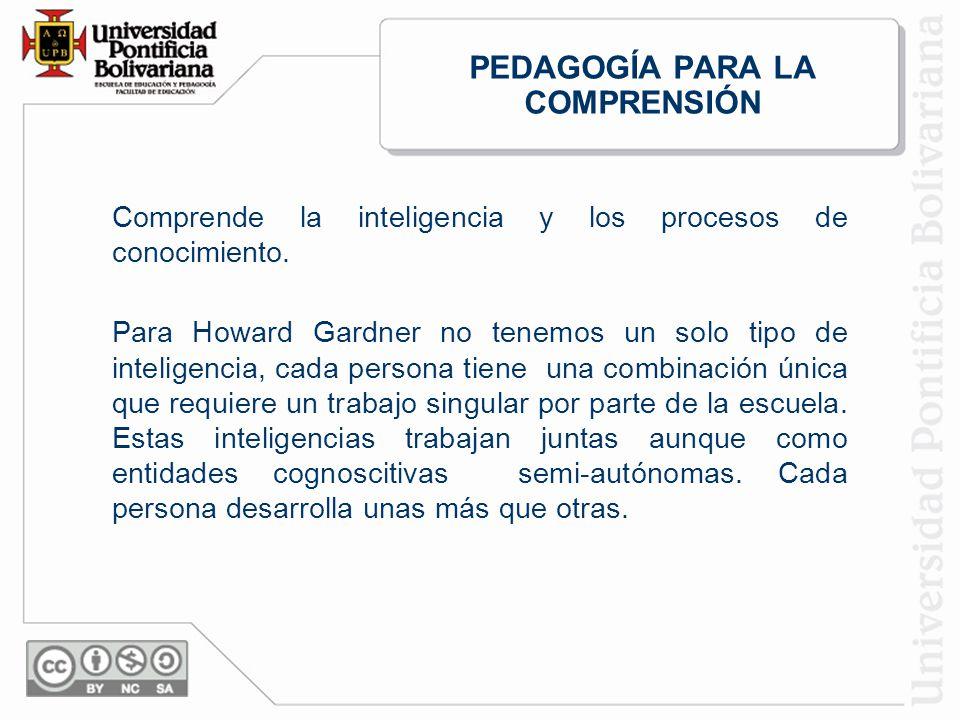 PEDAGOGÍA PARA LA COMPRENSIÓN Comprende la inteligencia y los procesos de conocimiento.