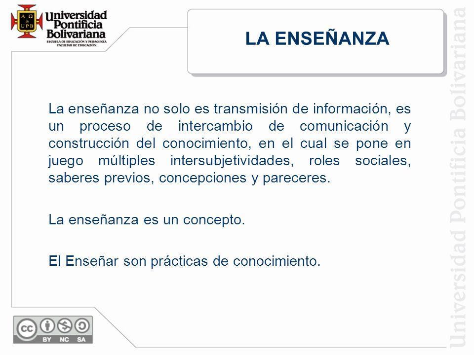 LA ENSEÑANZA La enseñanza no solo es transmisión de información, es un proceso de intercambio de comunicación y construcción del conocimiento, en el cual se pone en juego múltiples intersubjetividades, roles sociales, saberes previos, concepciones y pareceres.