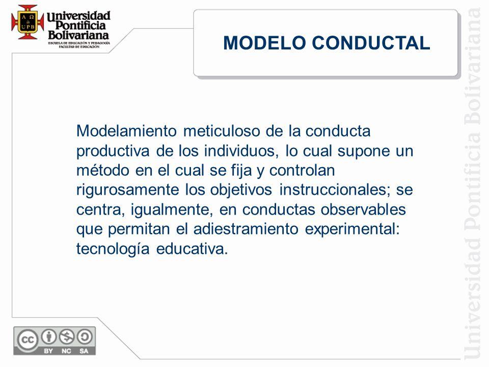 Modelamiento meticuloso de la conducta productiva de los individuos, lo cual supone un método en el cual se fija y controlan rigurosamente los objetivos instruccionales; se centra, igualmente, en conductas observables que permitan el adiestramiento experimental: tecnología educativa.